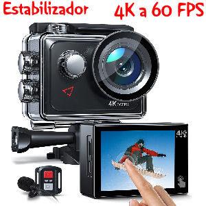 Cámara deportiva 4K a 60 FPS con pantalla táctil, 20 MP, wifi, estabilizador EIS con zoom 8x, sumergible hasta 40 m.
