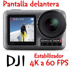 Cámara deportiva DJI con pantalla delantera, calidad 4K HDR con 12 MP y gran angular de 145 grados