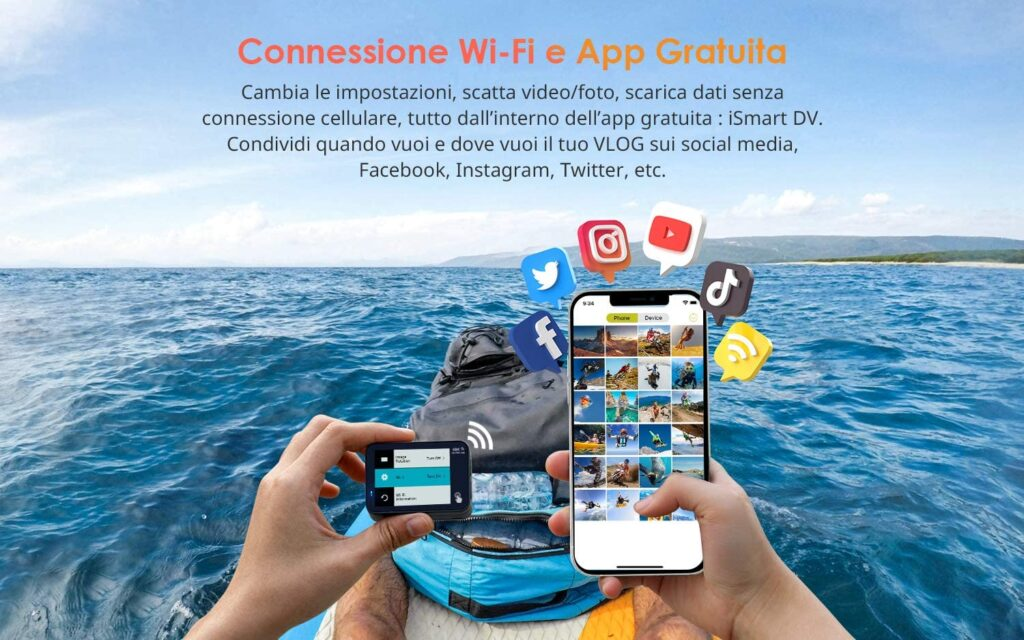 Cámara deportiva con wifi para compartir vídeos desde el móvil