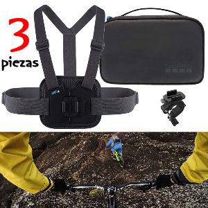 Chaleco para gopro con 3 accesorios, cinta para el pecho pecho, soporte para fijar a barras y maletin de transporte, 3 productos oficiales Gopro
